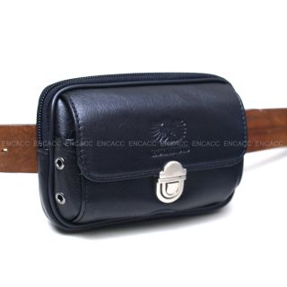 New Mens Genuine Black Leather Pocket Zipper Waist Packs Pouch Wallet