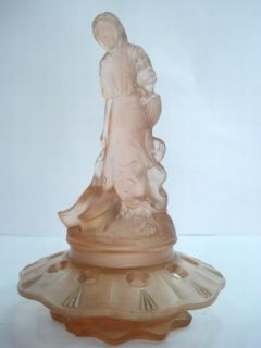 Antique Pink Glass Statuette of Girl Jewelry Box