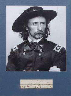 General George Armstrong Custer Authentic Signature Framed