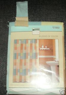 Style Selections Blocks of Color Fabric Shower Curtain