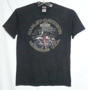 Harley Davidson T Shirt Gowanda New York Eagle Logo Red Motorcycle