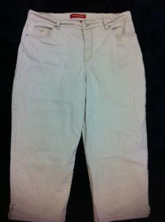 Gloria Vanderbilt Tan Cropped Pants 14 16 Capri 36 Waist Stretch Denim