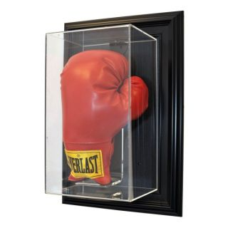 Wall Mount Single Boxing Glove Display w Free Nameplate and Engraving