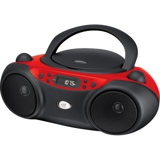 GPX Portable CD Player Boombox with AM FM Radio Aux for iPod  Red