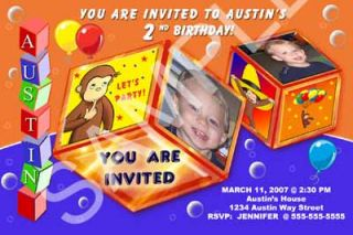 Curious George Monkey Boy Girl Personalized Photo Birthday Party