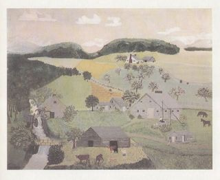 Grandma Moses Print The Old Oaken Bucket