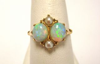 Vintage Retro 14k Yellow Gold Opal Pearl Ring
