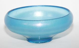 Antique Blue Stretch Carnival Glass Bowl 1920s Diamond Glass Co