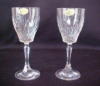 Crystal Wine Stem Glasses Goblets Set of 2 Vintage