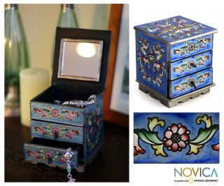 Celestial Reverse Painted Glass Jewelry Box Peru Art