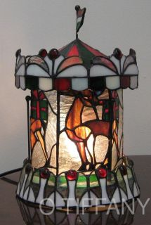 Tiffany Style Stained Glass Lamp Reindeer Carousel