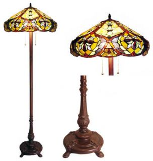 Styled Tiffany Style Stained Glass Floor Lamp w 19 Shade