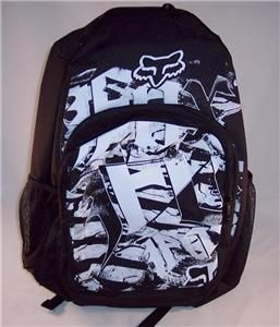Boys Black White Graphic Graffiti Skater Book Bag Backpack New