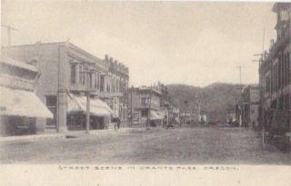 Grants Pass Oregon Street Scene Black White Postcard