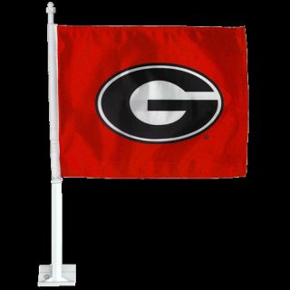 Georgia Bulldogs Black G Red Car Truck Flag Banner Pole Wall Mount 1BX