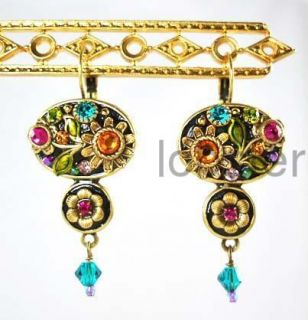 Michal Golan Gold Dangle Earrings with Swarovski Crystal New