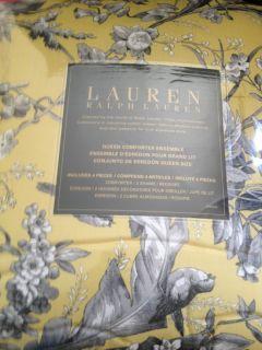 New Ralph Lauren Grand Isle Yellow 4pc Queen Comforter Set $400 Retail