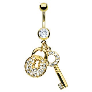 Gold Lock Key Belly Navel Rings Body Piercing Jewelry