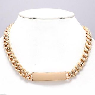 Chunky Gold Tone Chain ID Charm Trendy Fashion Statement Necklace