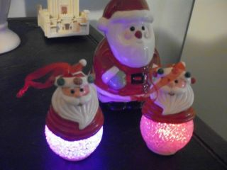 Santa Christmas Ornaments Battery Powered Lights Change Colors