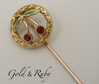 Antique French 18K Gold Tie Hat Lapel Stick Pin Ruby Yellow Green