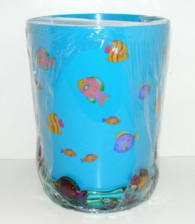 NEW Saturday Knight DYR GLITTER FISH WASTEBASKET Tropical Ocean Blue