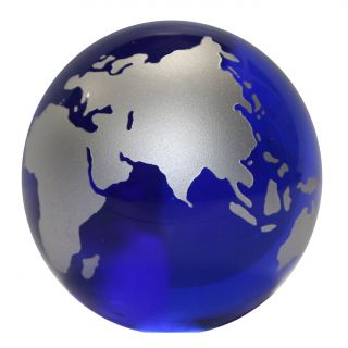Glass Crystal Globe Paperweight Paper Weight   World Map Global