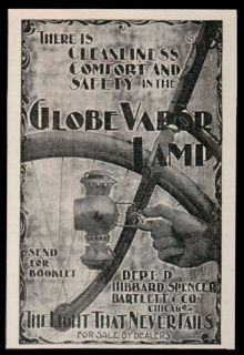 Bicycle Globe Vapor Lamp Light Antique 1896 Cycling Ad Chicago