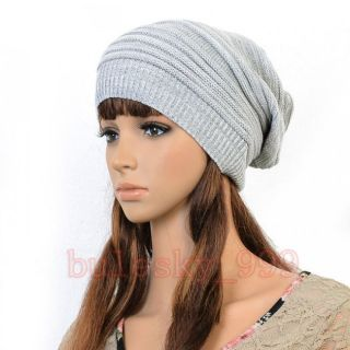 Womens Unisex Hip hop Winter Baggy Beanie Knit Crochet Hats Cap Grays