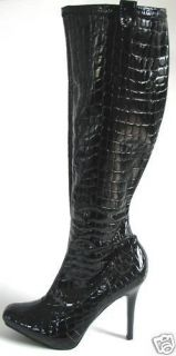 Guess Grange Black Patent Croco Logo Sexy Tall Platform Boots US 10