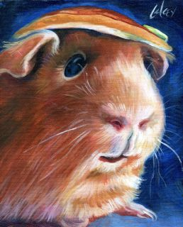 Painting Golden Guinea Pig Pancake Hat Cute Pet Hamster Gerbel Art