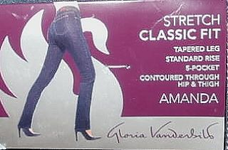 GLORIA VANDERBILT AMANDA STRETCH CLASSIC FIT BLUE SIZE 8 R JEANS NWT