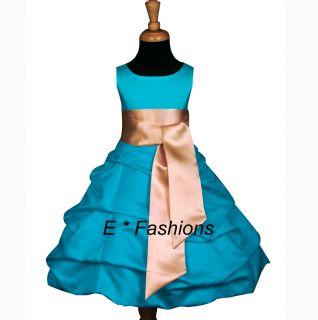 Turquoise Blue Gold Flower Girl Dress 4 6 8 10 12 13 14