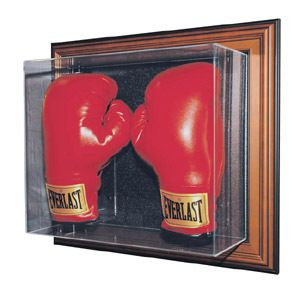 Double Boxing Glove Wall Mount Vertical Wood Frame Display Case
