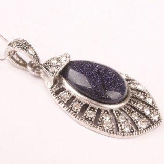 Blue Goldstone Gemstone Tibetan Silver Teardrop Bead Pendant