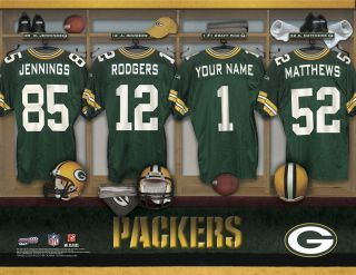 Green Bay Packers Locker Room Print Personalized