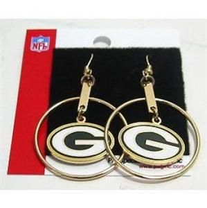 NFL Green Bay Packers Hoop Earrings Football Officially Licensed