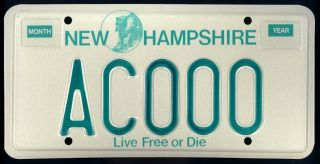 1987 Sample License Plate AC000 Live Free or Die 1st Graphic