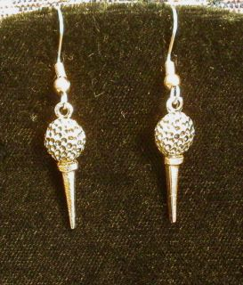 Golf Ball Tee Earrings 24 Karat Gold Plate Golfer Golfing Last Pair