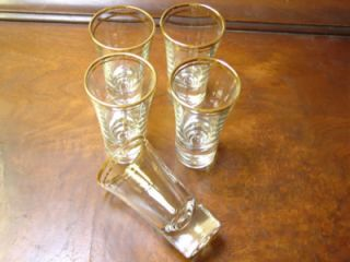 Cordial Glasses Double Gold Band Wine Grappa Cordial