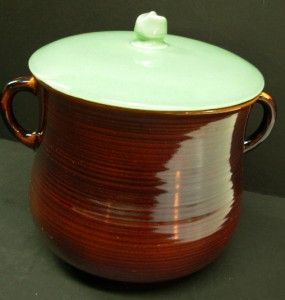 Vtg Red Wing Pottery Village Green Brown Bean Pot Lid