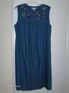 Go Softly Patio House Dress Sz XL 100 Cotton Denim Duster $64