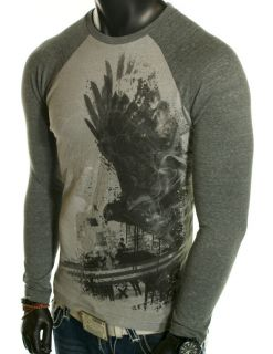 NEW MENS TONY HAWK SKATE EAGLE AMERICAN BASIC LONG SLEEVE GRAY CASUAL