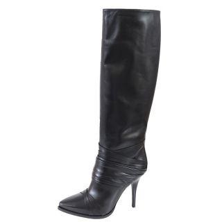 Gianfranco Ferre Black Leather High Heels Boots Shoes US 8 EU 38