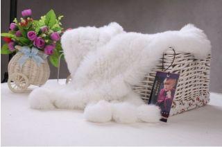 QD1001 100 Real Genuine Rex Rabbit Fur Scarf Wrap Shawl Cape Printed