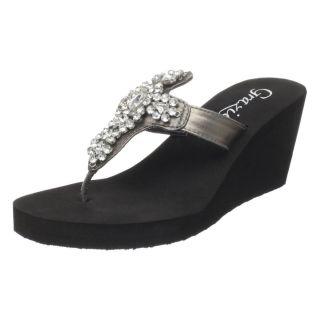 New Grazie Beauty Bling Rhinestone Wedge Flip Flops Sandals 11