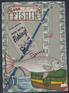 Handmade Greeting Card 3D Gone Fishing All Occasion