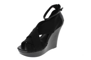 BCBG New Gonzalo Black Criss Cross Front Strappy Wedges Platforms