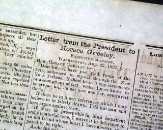ABRAHAM LINCOLN Letter to Horace Greeley 1862 Civil War Old Newspaper