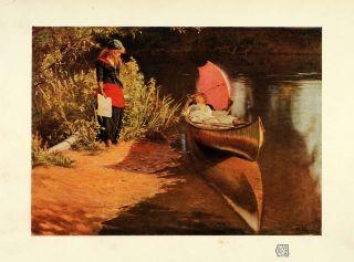 1910 Print Artist Edward J Gregory Marooned Painting Women River Bank
